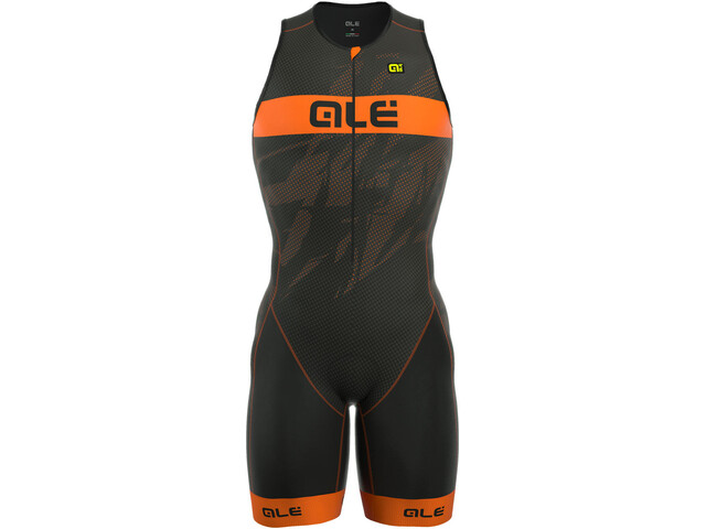 Alé Cycling Triathlon Long Record Tri Body Front Zipper Herren black-fluo orange